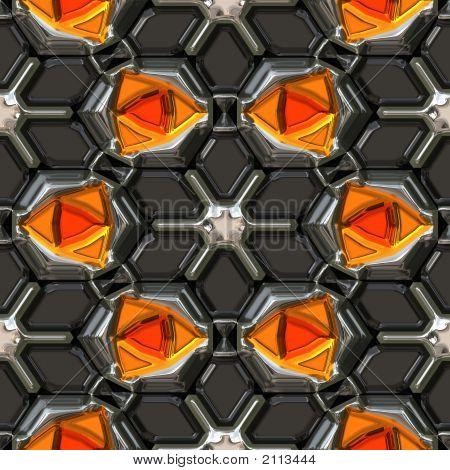 Orange Gems Encrusted In Metal