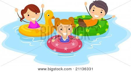 Illustration of Kids Wearing Flotation Devices