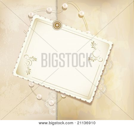 Vector Congratulation Gold Retro Background With ,pearls, Lace, Lette