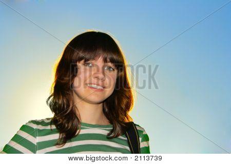 Portrait Of Happy Teen Girl Close-Up