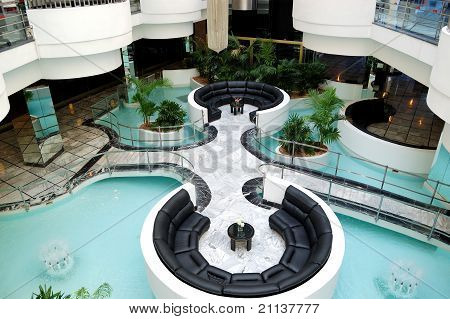 Lobby Interior At Luxury Hotel, Tenerife Island, Spain