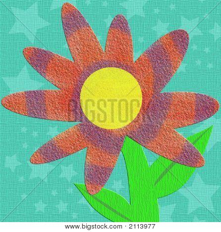 Kitschy Scrapbook Style Tie Dye Texture Flower
