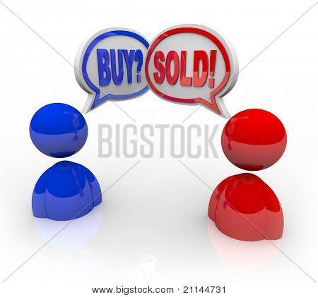 zwei illustriert Geschäftsleute mit Sprechblasen und die Worte kaufen und verkaufen symbolisiert, dass Sie