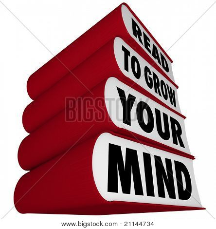 A stack of books with red spines and covers and the message Read to Grow Your Mind, illustrating the importance of reading to expand one's horizons and intelligence