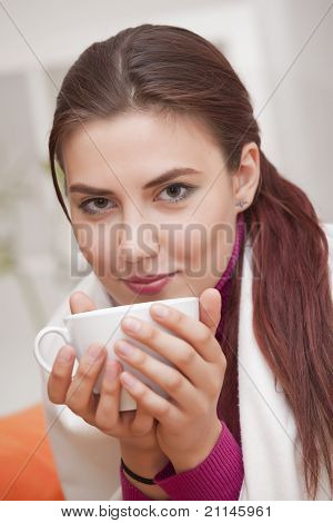Woman With Cup Tea