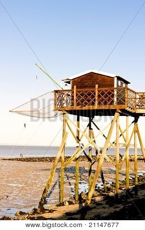 pier with fishing net, Gironde Department, Aquitaine, France