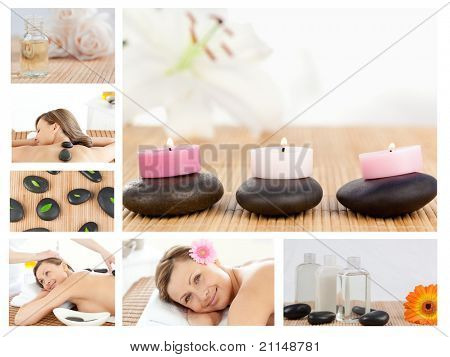 Collage of a pretty blond woman receiving a massage in a spa centre