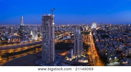 Night city, Tel Aviv at sunset, Israel This image was taken from three different shots