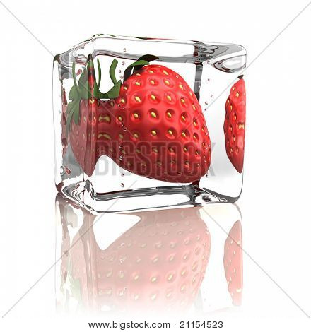 Strawberry frozen in ice cube isolated on white