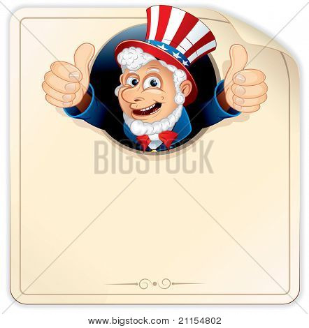 Cartoon Uncle Sam on Blank Paper Sign