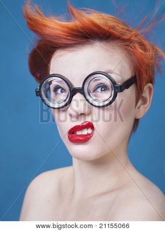 Funny girl nerd