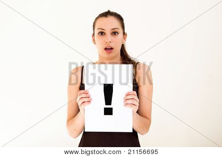 portrait young woman with board exclamation point