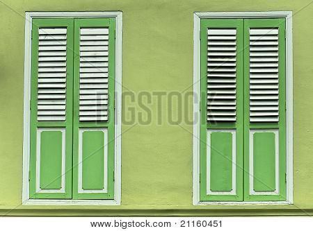 Lime Green shutter window doors