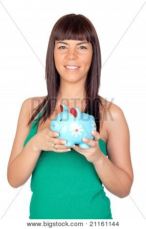 Beautiful Girl With A Piggy-bank
