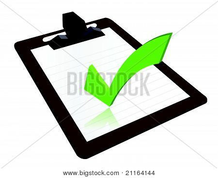 Clipboard with checkmark illustration design over a white background