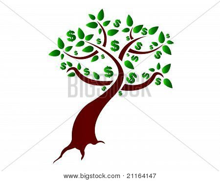 money tree illustration design on white background