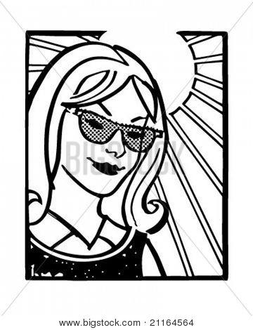 Girl With Sunglasses - Retro Clipart Illustration
