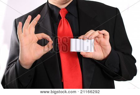 Business Card And Ok Sign