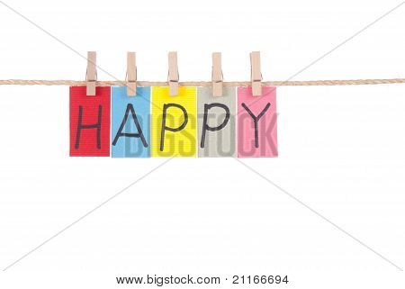 Happy, Wooden Peg  And Colorful Words
