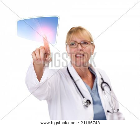 Attractive Female Doctor Touching Button on Touch Screen.