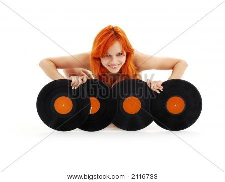 Lovely Redhead With Vinyl Records