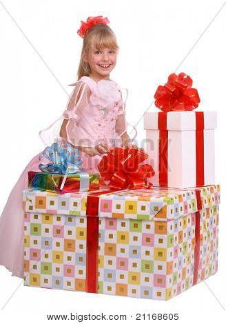 Girl and three gift boxes