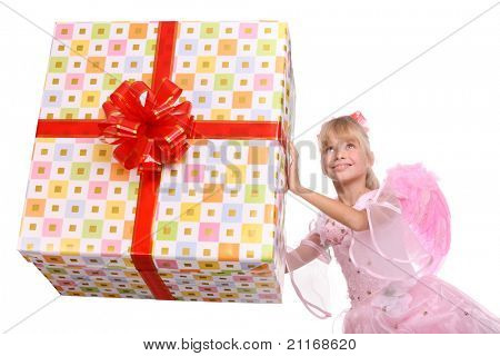 Angel with pink wings and white gift box decorate red bow.