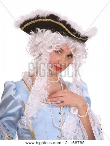Portrait of woman in marquise costume and hat.