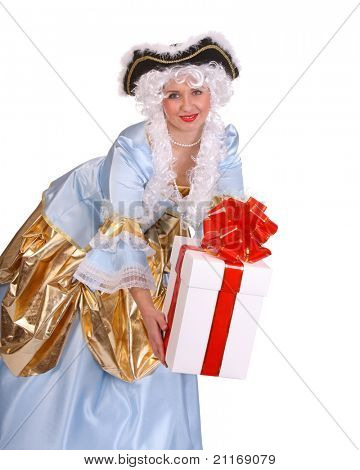 Woman in ancient dress of marquise with gift box decoration red bow.