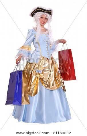 Woman in ancient dress of marquise with gift bag.