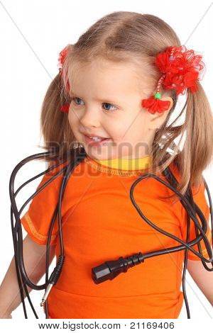 Child in orange t-shirt with wire. Isolated.