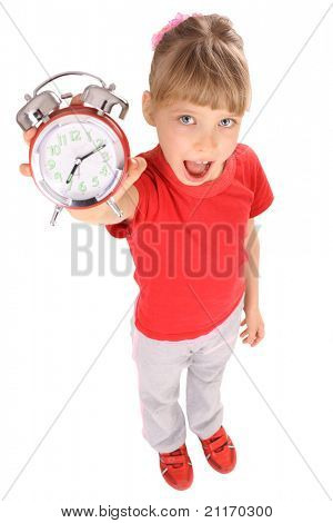 Portrait of girl in red t-shirt and alarm clock.