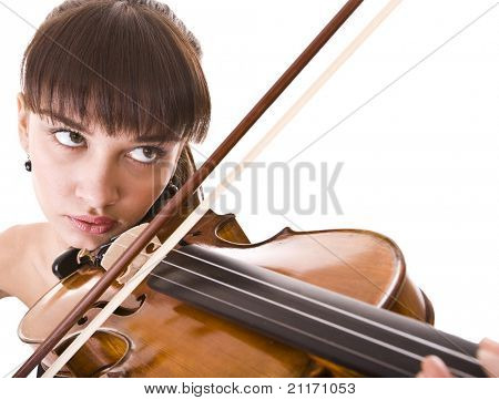 Aggressive young girl with fiddle. Isolated.