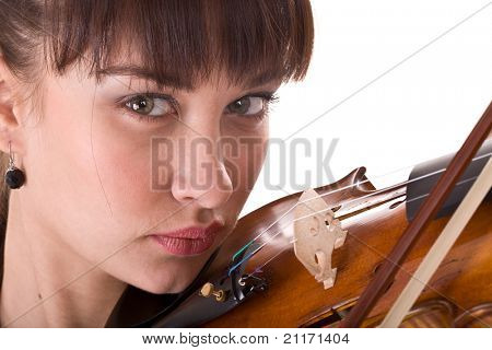 Beautiful young girl with fiddle. Isolated.
