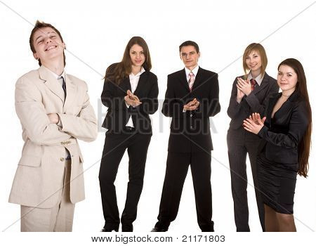 Group of businessman applaud. Isolated.