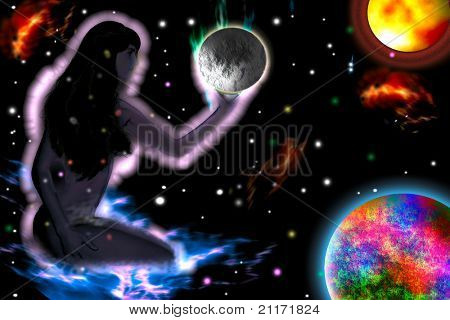 Girl in deep space hold  planet. Abstract.
