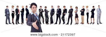 Businesswoman Welcoming To Her Successful Business Team
