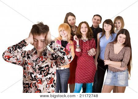Big group of teenager. Problem. Isolated.