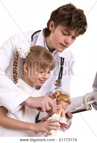 Doctor learn child to do  inoculation. Isolated.