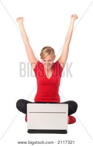 Girl Sitting On Floor Using Laptop