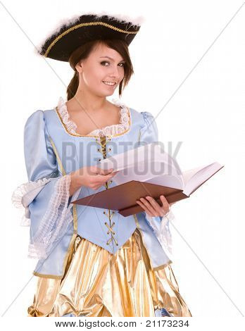 Girl  in marquise dress and hat read book. Isolated.