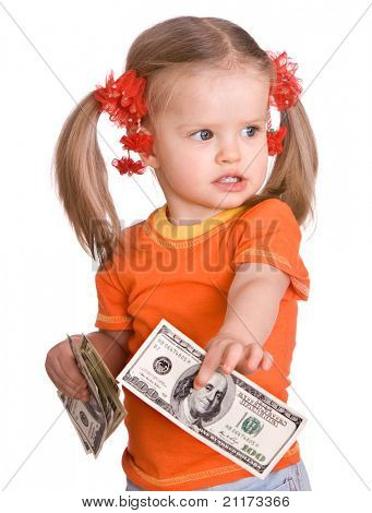Baby girl in orange with money dollar in hand. Isolated.