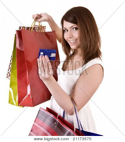 Girl with  bag and credit card. Isolated.