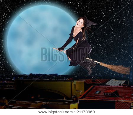 Girl witch fly on broom over  city against moon and star sky. Illustration.