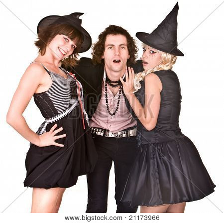 Group of people in  witch costume. Isolated.