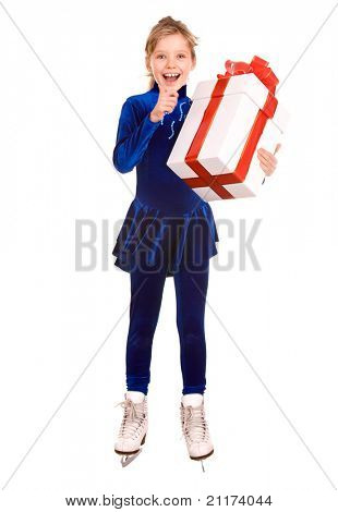 Girl in blue sport dress on skates with gift box. Isolated.