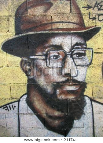 Graffiti - The Black Man With Hat And Glasses