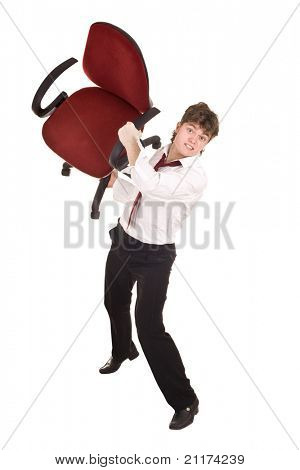 Businessman in crisis throw chair. Isolated.