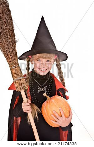 Child girl  Halloween witch  in black hat and dress with pumpkin, broom.Isolated.