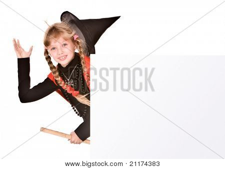 Child girl in Halloween witch costume with banner. Isolated.